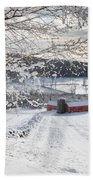 New England Winter Farms Square Beach Towel