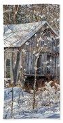New England Winter Woods Beach Towel