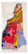 New Hampshire Map Art - Painted Map Of New Hampshire Beach Towel