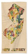 New Jersey Map Vintage Watercolor Beach Towel
