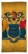 New Jersey State Flag Art On Worn Canvas Beach Towel