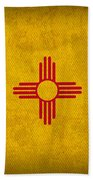 New Mexico State Flag Art On Worn Canvas Beach Towel