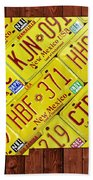 New Mexico State License Plate Map Beach Towel
