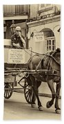 New Orleans - Carriage Ride Sepia Beach Towel