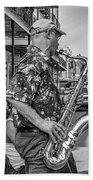 New Orleans Jazz Sax Bw Beach Towel