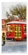 New Orleans Streetcar Paint Beach Towel