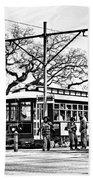 New Orleans Streetcar Silhouette Beach Towel
