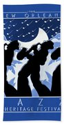 New Orleans Vintage Jazz And Heritage Festival 1980 Beach Towel