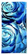 Pop Art Blue Roses Beach Towel