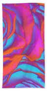 Pop Art Pink Neon Roses Beach Towel