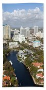 New River And Downtown Fort Lauderdale Beach Towel