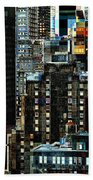 New York At Night - Skyscrapers And Office Windows Beach Towel