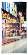 New York City - Broadway Lights And Times Square Beach Towel