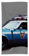 Vintage New York City Police Car 1980s Beach Towel