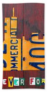 New York City Skyline License Plate Art 911 Twin Towers Statue Of Liberty Beach Towel