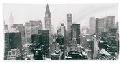 New York City - Snow-covered Skyline Beach Towel