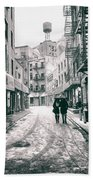 New York City - Snow On A Winter Afternoon - Chinatown Beach Towel by Vivienne Gucwa