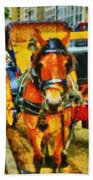 New York Horse And Carriage Beach Towel