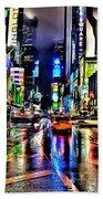 New York Lights In Rain Beach Towel