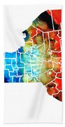 New York - Map By Sharon Cummings Beach Towel