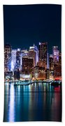 New York Panorama By Night Beach Towel