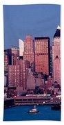 New York Skyline At Dusk Beach Sheet