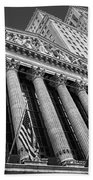 New York Stock Exchange Wall Street Nyse Bw Beach Towel