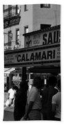 New York City Street Fair - Calamari Sausage - Black And White  Beach Towel