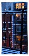 New York Window - Fire Escape In Winter Beach Towel