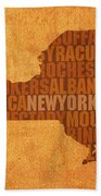 New York Word Art State Map On Canvas Beach Towel