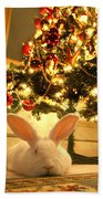 New Zealand White Rabbit Under The Christmas Tree Beach Towel