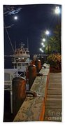 Newburyport Docks Full Moon Beach Towel
