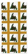 Newfoundland Tartan Map Blocks Gold Trim Beach Towel