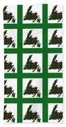Newfoundland Tartan Map Blocks Green Trim Beach Towel