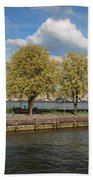 Nieuwe Maas River Waterfront In Rotterdam Beach Towel