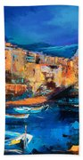 Night Colors Over Riomaggiore - Cinque Terre Beach Towel by Elise Palmigiani