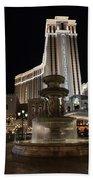 Night Glow At The Venetian Las Vegas Beach Towel