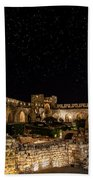 Night In The Old City Beach Towel