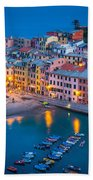 Night In Vernazza Beach Towel by Inge Johnsson