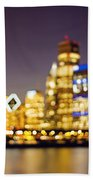 Night Lights - Abstract Chicago Skyline Beach Towel