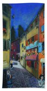 Night Street In Pula Beach Towel