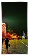Night View Of Gum And Saint Basil Cathedral In Red Square In Moscow-russia Beach Towel