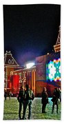 Night View Of Gum-former State Department Store-in Red Square In Moscow-russia Beach Towel