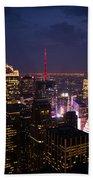 Night View Of New York Beach Towel