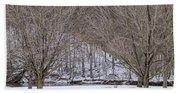 Snowy Picnic Ground In Winter Beach Towel