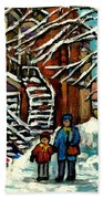 No School Today Out For A Snowy Walk Verdun Winter Winding Staircases Montreal Paintings C Spandau Beach Towel