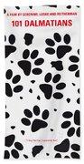 No229 My 101 Dalmatians Minimal Movie Poster Beach Towel by Chungkong Art
