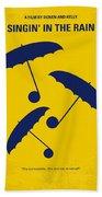 No254 My Singin In The Rain Minimal Movie Poster Beach Towel by Chungkong Art