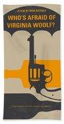 No426 My Whos Afraid Of Virginia Woolf Minimal Movie Poster Beach Towel