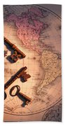 North America And Old Keys Beach Towel